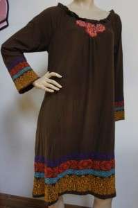 JWLA Johnny Was Multicolor Floral Embroidered Brown Dress Sz L