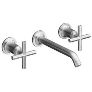 Kohler Purist Brushed Chrome Wall Mount Bathroom Sink Faucet, 8 1/4