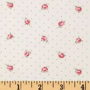 Wide Lecien Petite Fleur Tiny Roses Dots Cream/Pink Fabric By The Yard