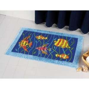 FISH ocean fringed BATH RUG bathroom mat home decor