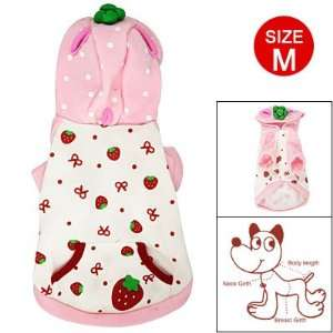 Como Strawberry Prints Kangaroo Pocket Hooded Jacket Pet