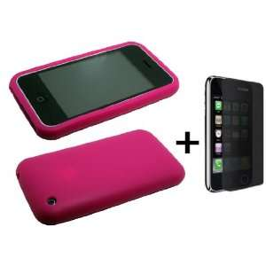 Hot Pink Silicone Soft Skin Case Cover for iPhone 3G ***BUNDLE WITH