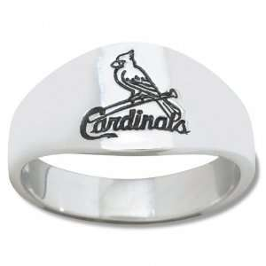 St. Louis Cardinals Mens Sterling Silver Cigar Band Ring
