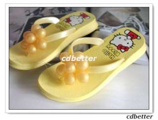 Hello Kitty Cute Yellow Grape Decor Flip Flops Sandals Shoes Size 2.5