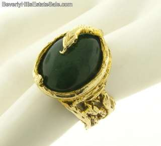 Antique Art Nouveau 14k Gold Yellow Jade Snake Ring