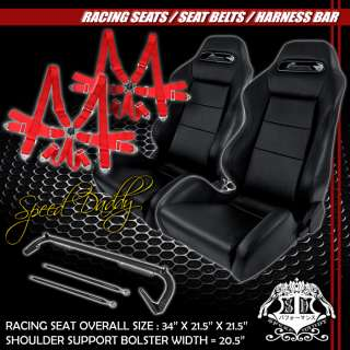 REAL LEATHER RACING SEATS+HARNESS BAR+RED 6PT CAMLOCK BELT 300ZX/STi