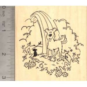 Dog at Rainbow Bridge, Pet Loss Rubber Stamp Arts, Crafts