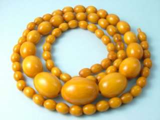 ANTIQUE ART DECO BUTTERSCOTCH AMBER BAKELITE BEAD NECKLACE  62 GRAMS