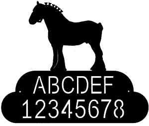 custom CLYDESDALE HORSE metal steel house address sign