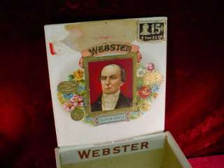 Antique WEBSTER CIGAR BOX Golden Wedding TOBACCIANA Case HUMIDOR