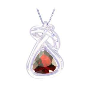 14K White Gold Trillion Gemstone and Diamond Pendant Garnet , Chain