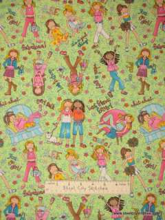 Best Friends Forever Girls Funky Flowers Fabric BTY