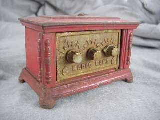 Antique Cast Iron Kenton Toys RADIO BANK 3 dial RED