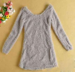 Korea Women Fleece Long Mini dress Gray Fall Collection