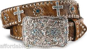 Brown Hair  WESTERN BELT  Rhinestone/BLUE Crystal CROSS