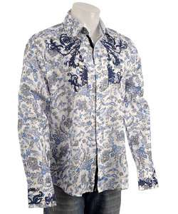 English Laundry Mens Blue Paisley Dress Shirt