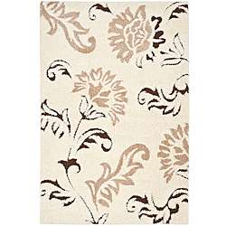 Hand woven Ultimate Cream/ Dark Brown Shag Rug (8 x 10)