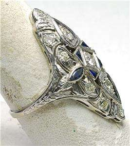 Antique Art Deco 18k White Gold 1930s 85pt Diamond & Sapphire Ladies