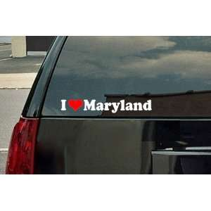 I Love Maryland Vinyl Decal   White with a red heart