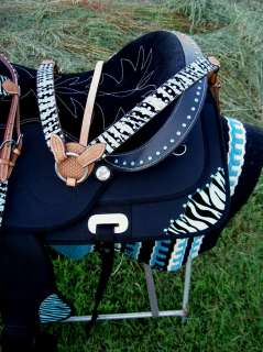 CORDURA TRAIL BARREL PLEASURE SADDLE BLUE ZEBRA ALL TACK DEAL