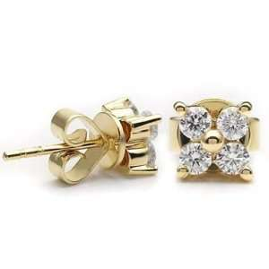 14k Yellow gold Diamond Flower Earrings (0.58 cttw, H I, SI) Jewelry