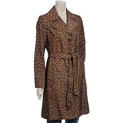 Via Spiga Womens Belted Leopard Print Trench Coat
