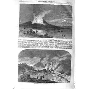 1858 ERUPTION MOUNT VESUVIUS NAPLES STREAM LAVA