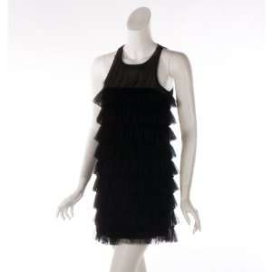 Wishes Womens Mesh Tiered Black Dress