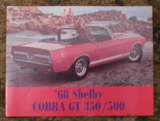 1968 Ford Mustang Shelby Cobra GT 350 / 500 brochure