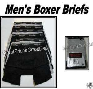 Mens Boxer Briefs COTTON Underwear BLK/GRAY XL 42 44
