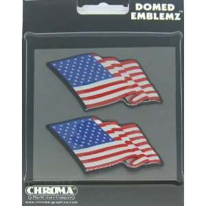 Decal Emblem Color   USA American Flag   Pair Automotive