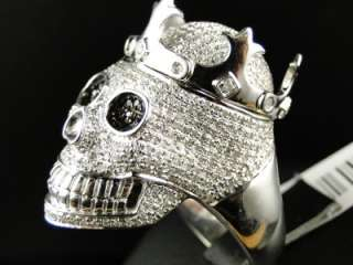 MENS WHITE GOLD FINISH REAL XXL SKULL BLACK/WHITE DIAMOND DESIGNER