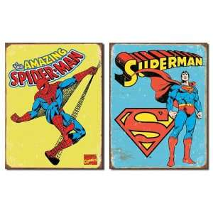 Superhero Tin Metal Sign Bundle   2 retro signs Superman Retro