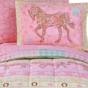 TWIN Girls Pink PONY HORSE COWGIRL Reversible Comforter Sheets