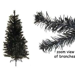 3 Black Noble Pine Tinsel Artificial Christmas Tree