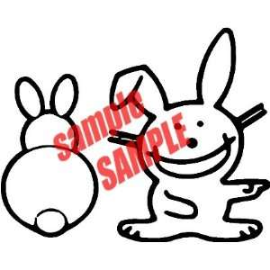 BUNNY HAPPY LOGO WHITE VINYL DECAL STICKER Everything