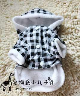 Cartoon Rabbit inside Warm Fleece DOG Clothes Lattice hoodie COAT XS,S