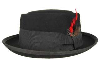 PORK PIE Flat Top FEDORA Feather Hat Black