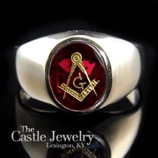 MENS YELLOW GOLD MASONIC RING OVAL RED STONE SIZE 11