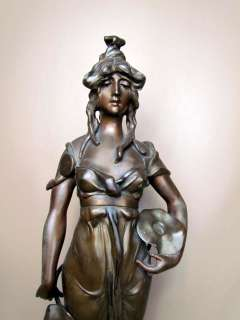 Beautiful* Antique French Art Nouveau Figural Maiden Bronzed Statue