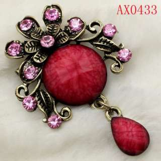 Amazing Crystal Antique Bronze Brooch  AX0433