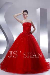 JSSHAN Red Beaded Formal Party Ball Long Prom Gown Princess Bridal