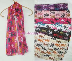 Ladies Girls Light Soft Thin Scarf Shawl Cute Bears