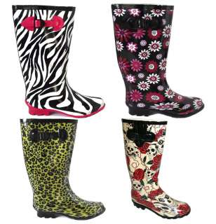 LADIES PRINTED WELLINGTON BOOTS WOMENS WINTER SNOW RAIN BOOTS SIZE 3