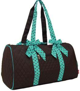 Brown Teal Turquoise Polka Dot Duffel Dance Bag Gym Bag Tote Bag