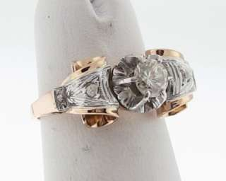 Antique Estate Genuine Diamonds Solid 14k Two Tone Gold Ring