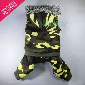 CAMO WINTER WARM DOG COAT FLEECE PET HOODIE JACKET SWEATSHIRT JUMPSUIT