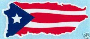 PUERTO RICO MAP WITH FLAG, STICKER DECAL