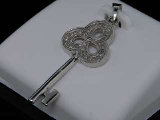 LADIES WHITE GOLD FINISH DIAMOND KEY LOCK CHARM PENDANT