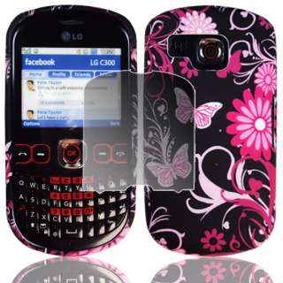 PINK BUTTERFLY CASE COVER FOR LG C300 TOWN+SCREEN GUARD